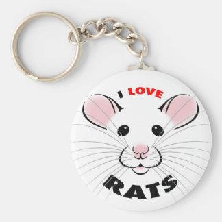 Porte-clés J'aime le porte - clé de rats