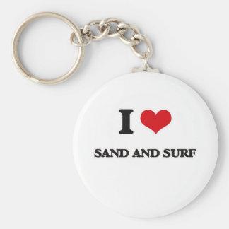Porte-clés J'aime le sable et le surf