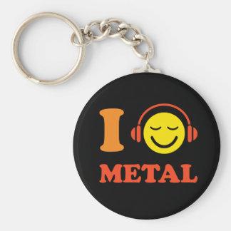 Porte-clés J'aime le smiley de musique en métal avec le porte
