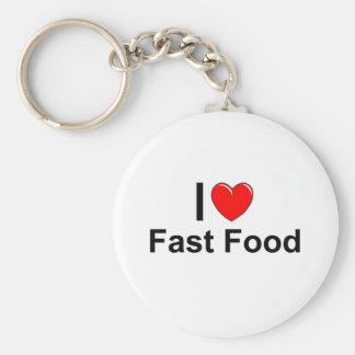 Porte-clés J'aime les aliments de préparation rapide de coeur