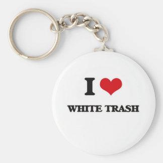 Porte-clés J'aime les déchets blancs