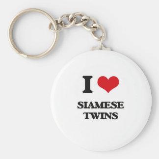 Porte-clés J'aime les jumeaux siamois