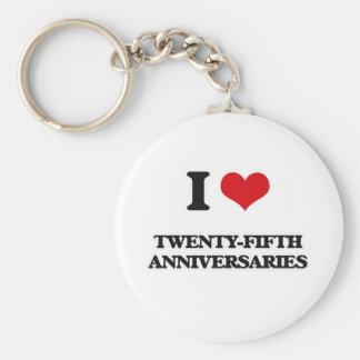 Porte-clés J'aime les vingt-cinquièmes anniversaires