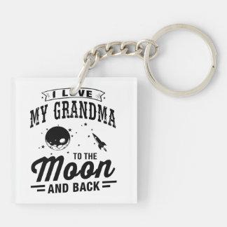 Porte-clés J'aime ma grand-maman à la lune et au dos