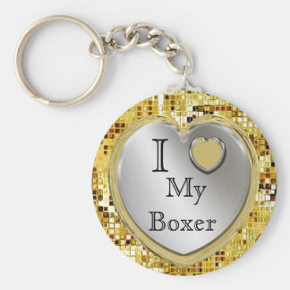 Porte-clés J'aime mon boxeur ou ? Porte - clé de coeur