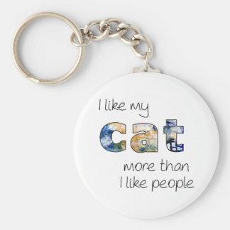 Porte-clés J'aime mon chat davantage que j'aime des personnes