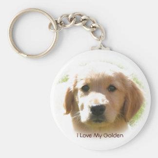 Porte-clés J'aime mon chien de golden retriever