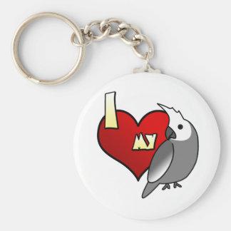 Porte-clés J'aime mon Cockatiel de Whiteface