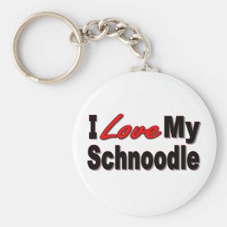 Porte-clés J'aime mon porte - clé de chien de Schnoodle