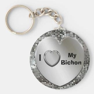 Porte-clés J'aime mon porte - clé de coeur de Bichon