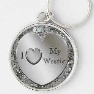 Porte-clés J'aime mon porte - clé de coeur de Westie