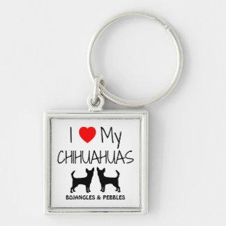 Porte-clés J'aime mon porte - clé de coutume de deux chiwawas