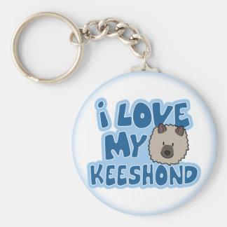 Porte-clés J'aime mon porte - clé de Keeshond