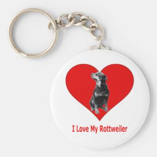 Porte-clés J'aime mon rottweiler