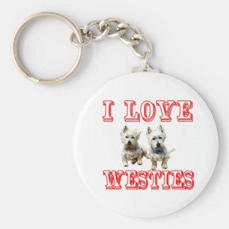 Porte-clés J'aime Westies Keychain.