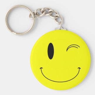 Porte-clés Jaune de KRW clignant de l'oeil le visage souriant