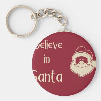 Porte-clés Je crois aux mots de Père Noël. Fond rouge