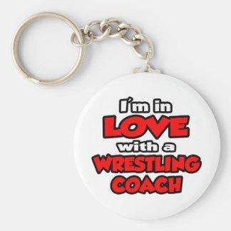 Porte-clés Je suis dans l'amour avec l'entraîneur de lutte