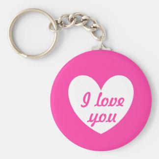 """Porte-clés """"Je t'aime"""" coeur blanc sur le rose fuchsia"""