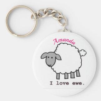 Porte-clés je t'aime moutons faits sur commande mignons de