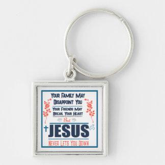 Porte-clés Jésus ne vous laisse vers le bas jamais porte -