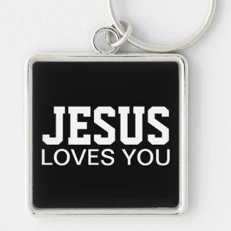 Porte-clés Jésus vous aime typographie de motivation
