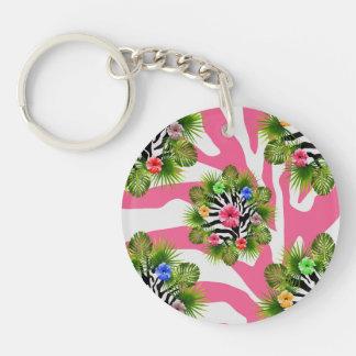 Porte-clés Ketmie tropicale et rayures roses exotiques de