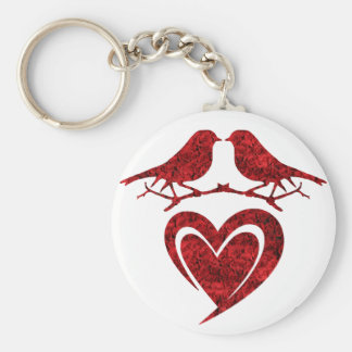 Porte-clés Kiss of Birds Keychain - Heart with Red Roses