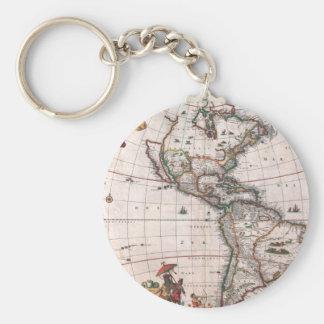 Porte-clés La carte de Visscher du nouveau monde