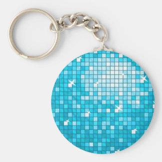 Porte-clés La disco couvre de tuiles le porte - clé bleu rond
