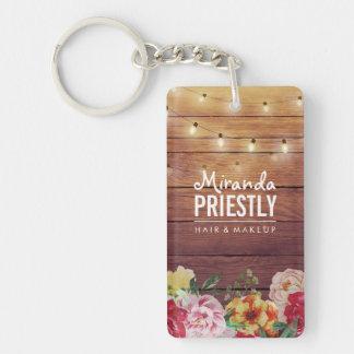 Porte-clés La ficelle chic florale en bois rustique allume le