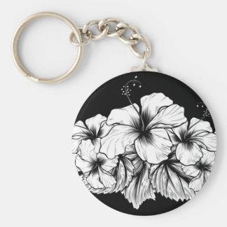 Porte-clés La ketmie fleurit la gravure vintage gravure à