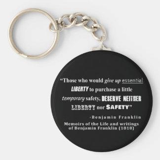 Porte-clés La liberté et la sécurité Benjamin Franklin citent