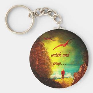 Porte-clés La montre chrétienne et prient le porte - clé