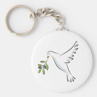 Porte-clés La paix a plongé avec la branche d'olivier