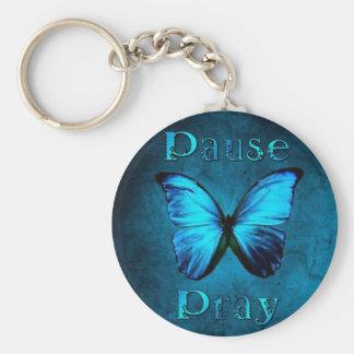 Porte-clés La pause prient le papillon bleu
