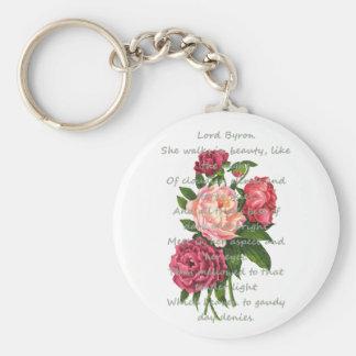 Porte-clés La pivoine vintage fleurit le poème romantique de