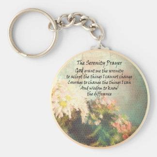 Porte-clés La prière de sérénité fleurit le porte - clé