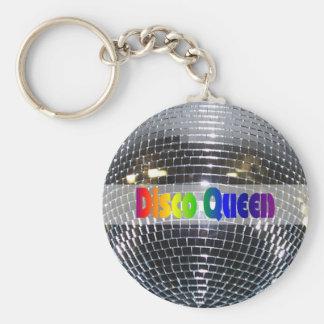 Porte-clés La Reine brillante rétro 80s de disco de l'argent