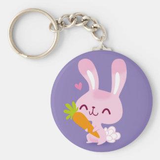 Porte-clés Lapin heureux mignon tenant une carotte