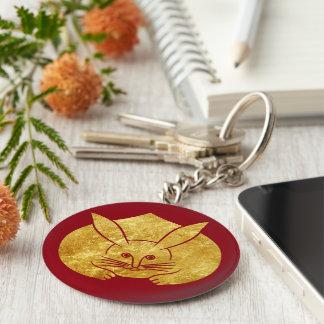 Porte-clés Lapin japonais de kamon d'Usagi en or de faux sur
