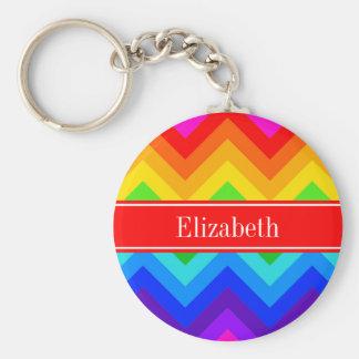Porte-clés L'arc-en-ciel colore #2 le monogramme nommé rouge