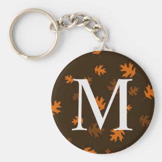Porte-clés L'automne d'automne laisse le monogramme - orange