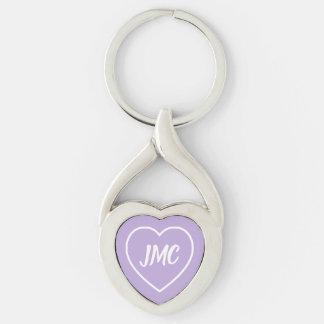 Porte-clés Lavande de cottage et monogramme blanc de coeur