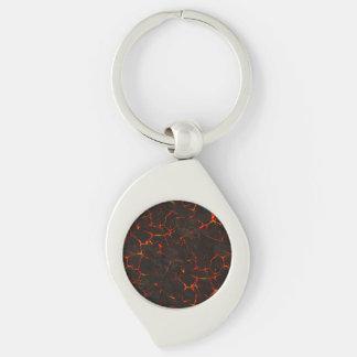 Porte-clés Lave moulue fondue criquée de volcan de roche