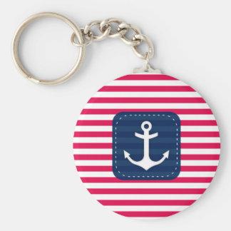Porte-clés Le blanc rouge nautique barre l'ancre de bannière