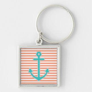 Porte-clés Le corail barre l'ancre turquoise nautique