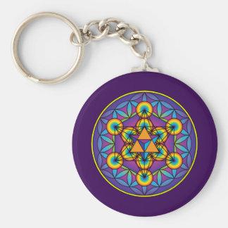 Porte-clés Le cube Merkaba de Metatron sur la fleur de la vie