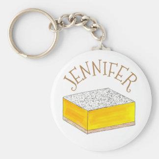 Porte-clés Le dessert de pâtisserie de barre carrée de citron