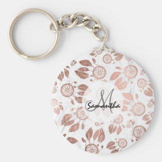 Porte-clés Le dreamcatcher rose d'or de faux moderne fait